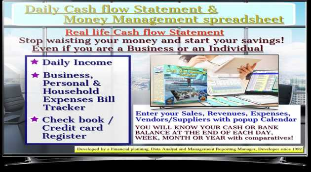 Daily Cash flow Statement spreadsheet