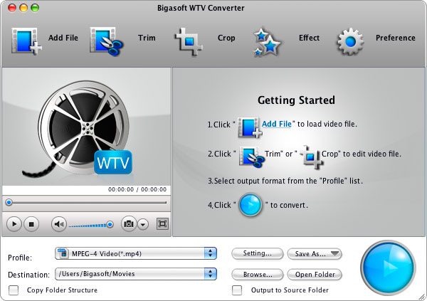 Bigasoft WTV Converter for Mac
