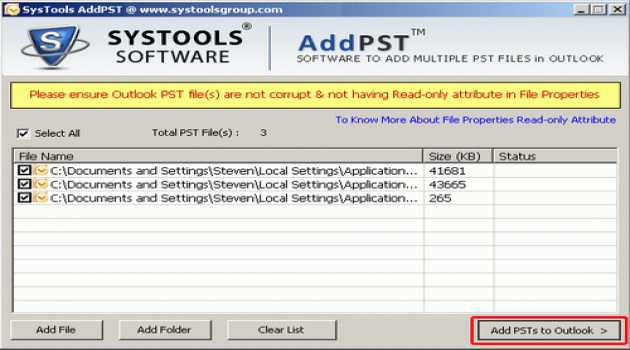 SysTools AddPST