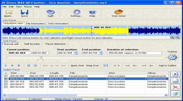 Direct WAV MP3 Splitter