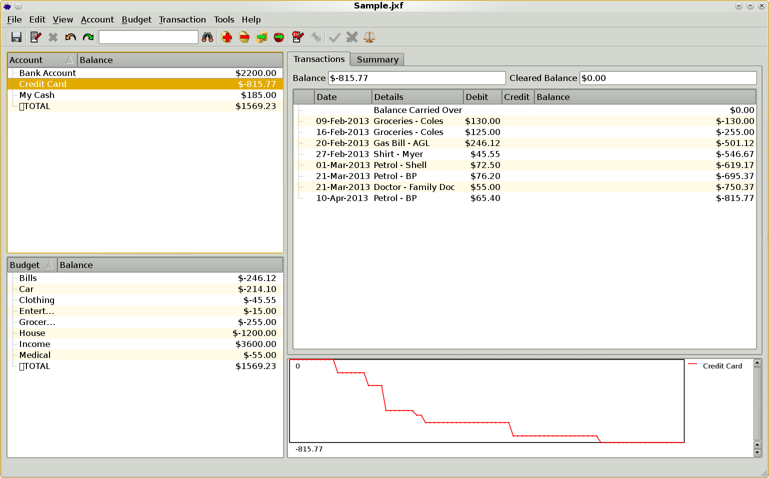 JXCirrus Finance for Linux