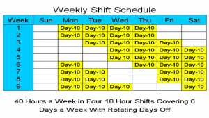 10 Hour Schedules for 6 Days a Week