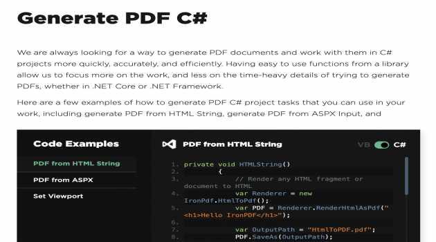 Generate PDF in C#