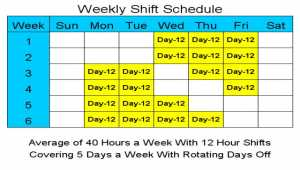 12 Hour Schedules for 5 Days a Week