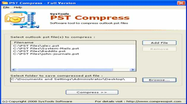 SysTools PST Compress