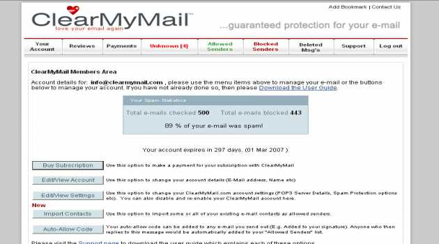 ClearMyMail Spam Blocker