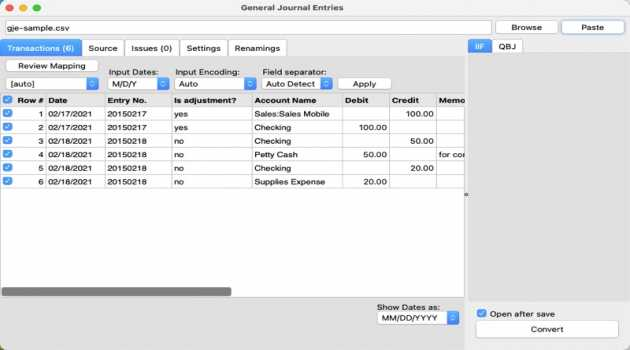 General Journal Entries for macOS