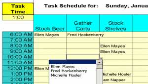 Daily Shifts and Tasks for 25 Employees