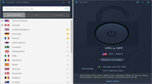 DewVPN unlimited free VPN for Windows