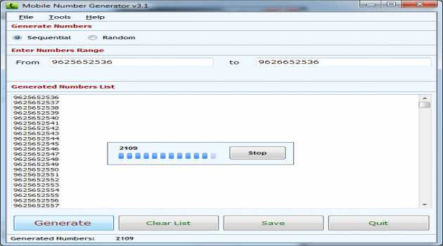 Mobile Number Generator Software