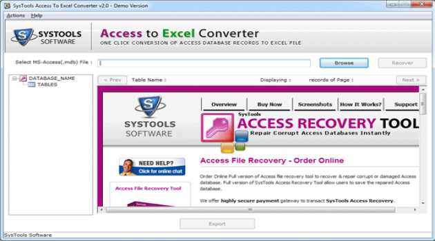 Systools Access to Excel