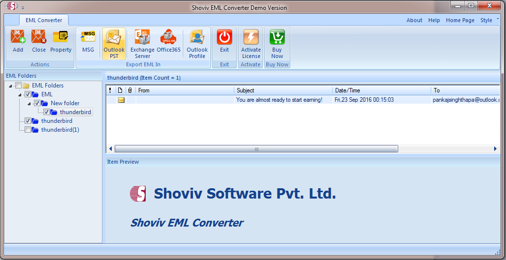 EML to PST Converter 18 03 - Shoviv EML to PST Converter