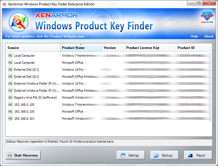 XenArmor Windows Product Key Finder