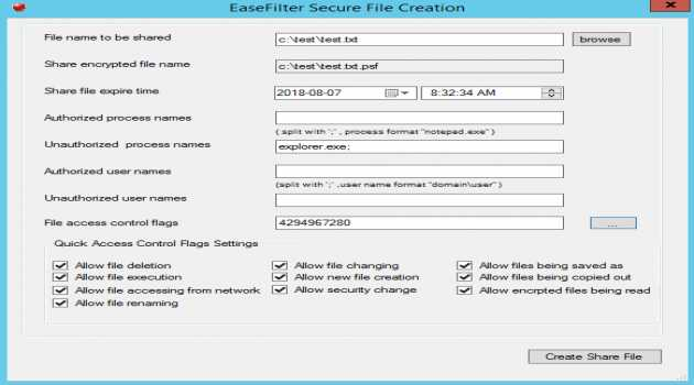 EaseFilter Secure File Sharing SDK