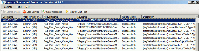 Registry Monitor and Control Library