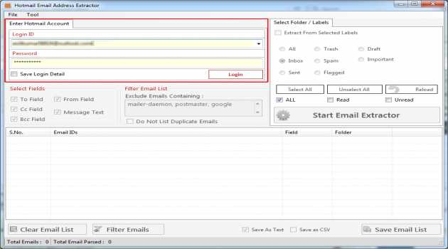 Hotmail Email Address Extractor