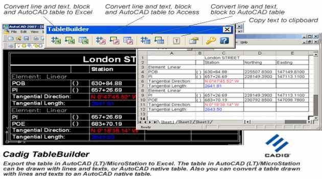 AutoCAD to Excel - TableBuilder