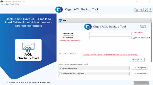 Cigati AOL Backup Tool