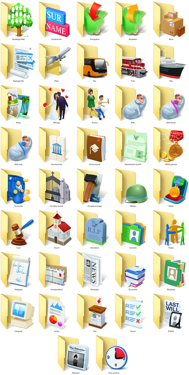 Genealogy Folder Icons