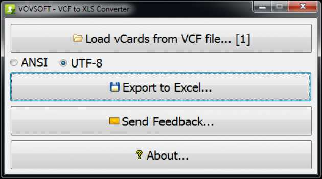 VCF to XLS Converter