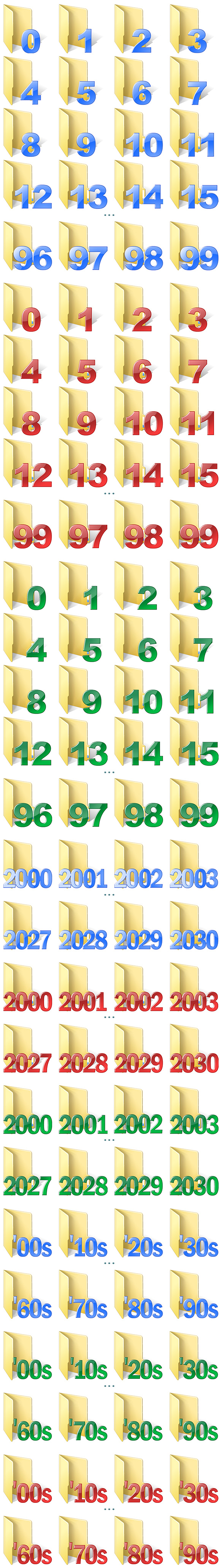 Numbered Folder Icons