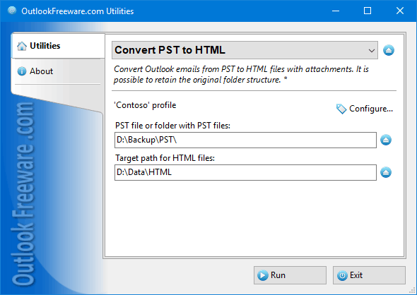 Convert PST to HTML for Outlook