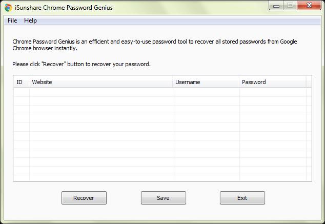 iSunshare Chrome Password Genius