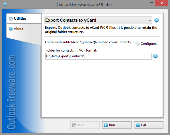 Export Contacts to vCard for Outlook 4 11 - Free exports