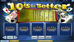 Europa 10 or Better Video Poker Online
