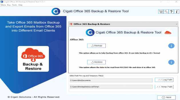 Cigati Office 365 Backup and Restore Too