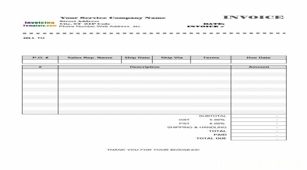Blank Service Invoicing Template