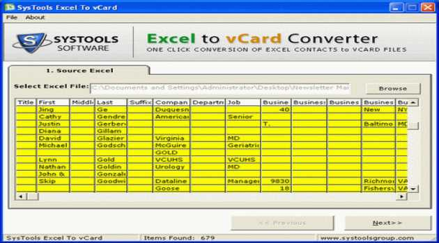 Excel to vCard