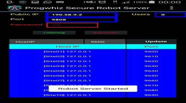 Progwhiz Robotics Server for Android