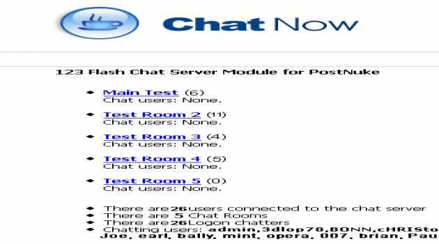 PostNuke Chat Module for 123 Flash Chat