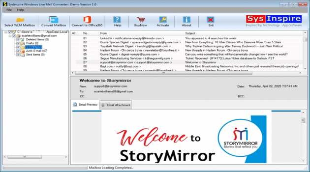 SysInspire Windows Live Mail Converter