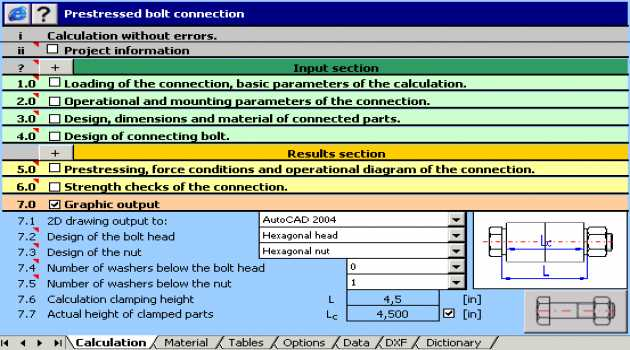 MITCalc Bolted connection
