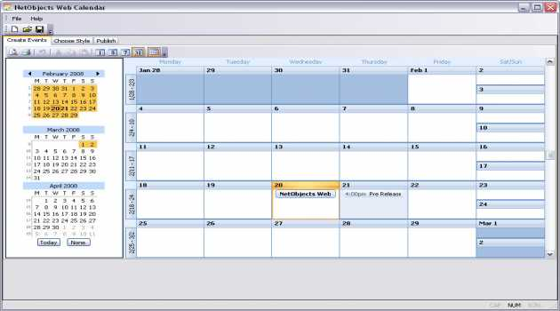 NetObjects Web Calendar