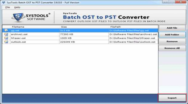 Batch OST to PST Converter