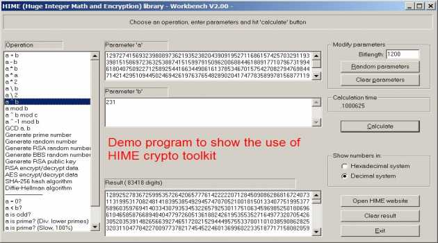 HIME: Huge Integer Math and Encryption