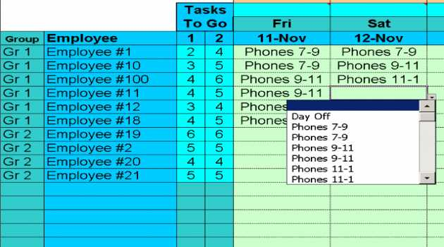 Easy Task Schedules with Excel
