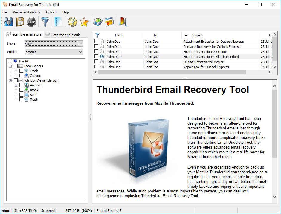 Recovery Tool for Mozilla Thunderbird