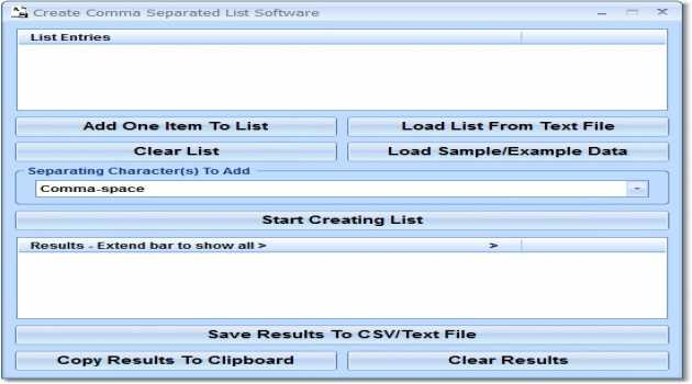 Create Comma Separated List Software