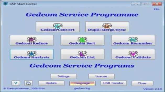 GSP - Gedcom Service Programs