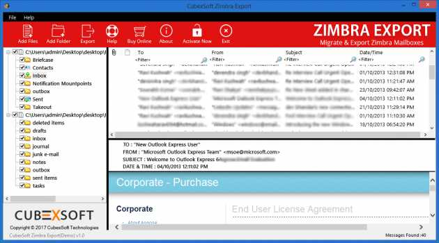 Migrate Zimbra Mailbox to Outlook