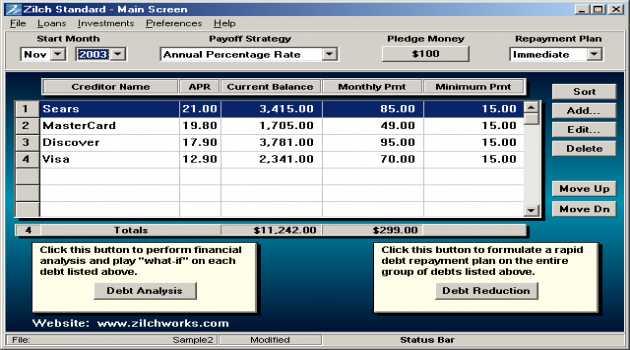 Debt Reduction - Zilch Standard