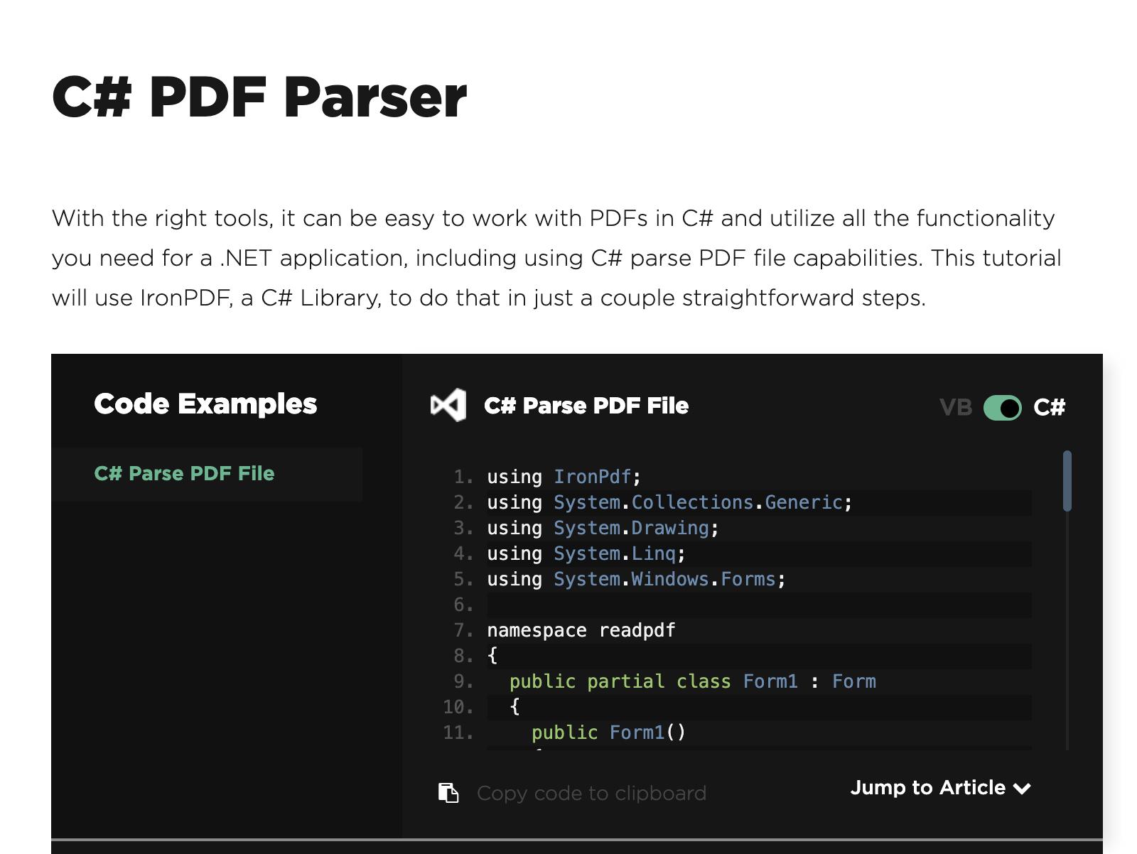C# PDF Parser