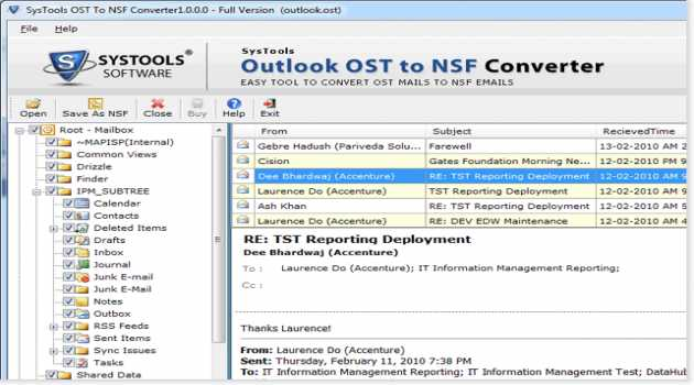 Outlook OST to NSF Converter