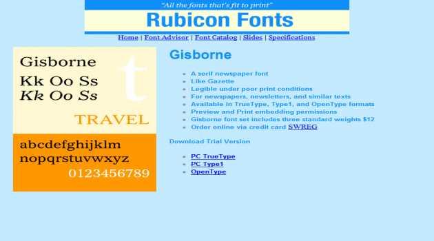 Gisborne Font TT