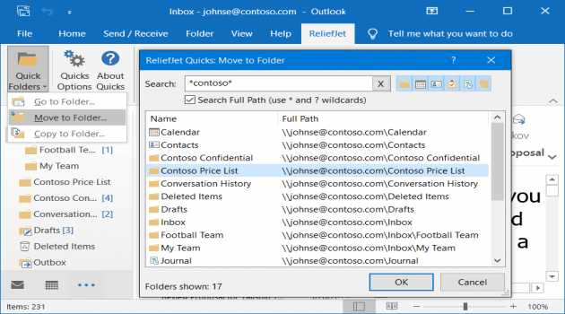 ReliefJet Quick Folders for Outlook