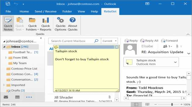 ReliefJet Quick Notes for Outlook